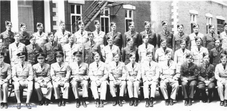 Lawrence in flight training at Victoriaville Quebec, June 1942.  He is front row, third from left.